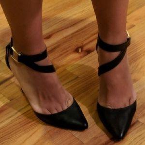 Banana Republic Black Leather Ankle Strap Heels